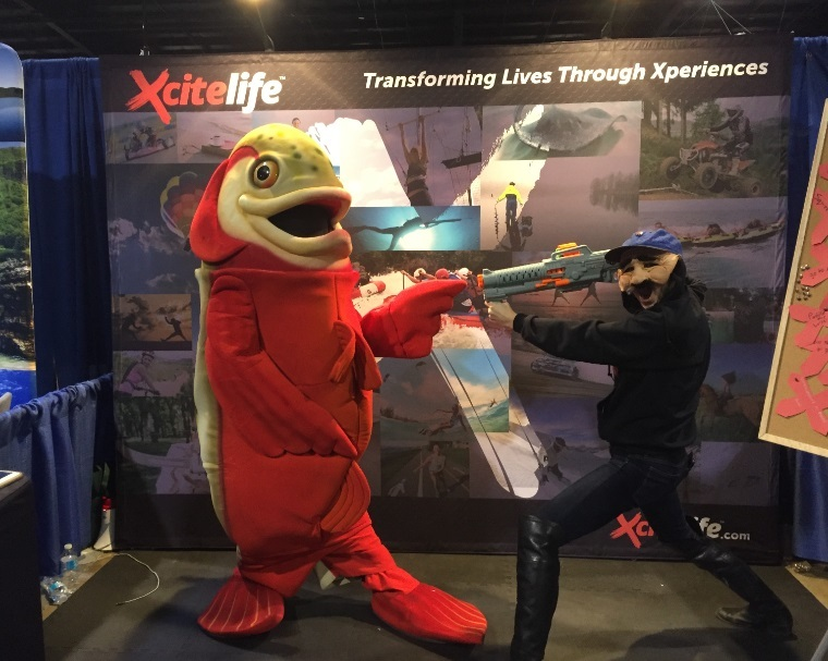 Xcitelife mascot at Outdoor Adventure Show in Toronto, 19 Feb 2016