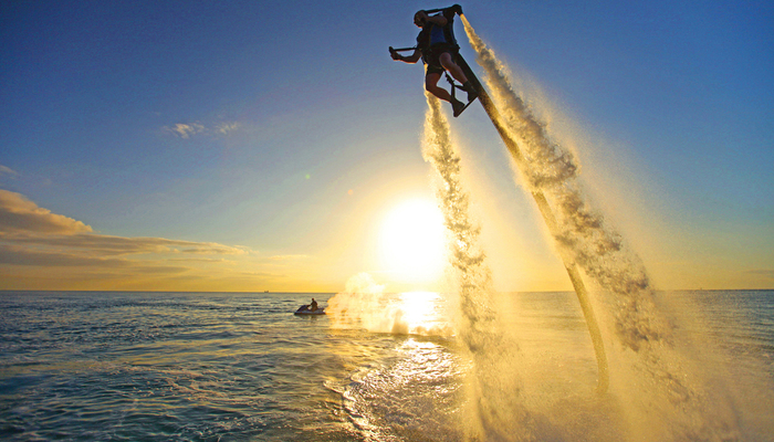 Xperience thumb responsive water flyboarding